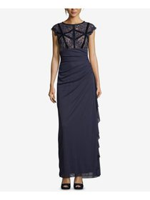 BETSY & ADAM Womens Navy Ruched Lace Bodice Gown C