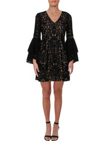 Xscape Womens Petites Lace Bell Sleeve Party Dress