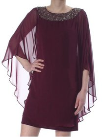 XSCAPE Womens Purple Embellished Kimono Sleeve Jew