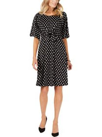 NY Collection Womens Petites Dot Tie-Front Wear to