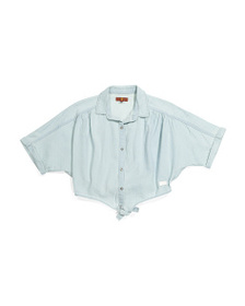 7 FOR ALL MANKIND Big Girls Tie Front Denim Top