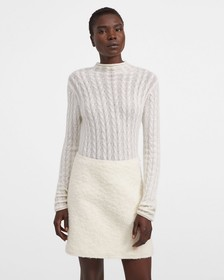 Roll Neck Sweater in Cable Knit Cashmere