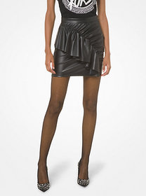 Michael Kors Faux Leather Ruched Skirt