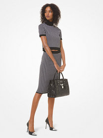 Michael Kors Check Viscose and Nylon Cropped Mock