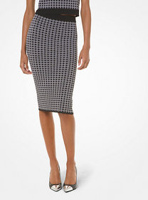 Michael Kors Check Viscose and Nylon Tube Skirt