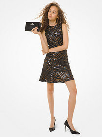 Michael Kors Faux Leather Appliquéd Mesh Dress