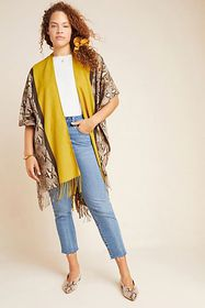 Anthropologie Olive Fringed Wrap