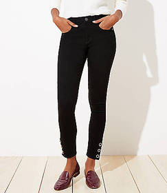 Curvy Snap Hem Slim Pocket Skinny Jeans in Black