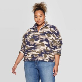 Women's Camo Print Weekend Plus Size 1/4 Zip Sherp