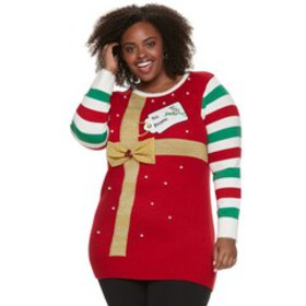 Plus Size US Sweaters Trimmed Tree Christmas Pullo