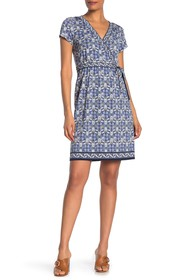 Max Studio Patterned Faux Wrap Dress