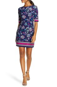 Eliza J Floral Stripe Sheath Dress