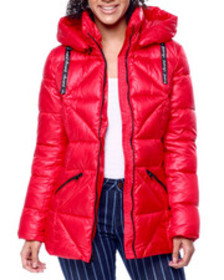 Kendall & Kylie shiny vinyl hooded puffer jacket