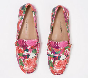 """As Is"" Isaac Mizrahi Live! Floral Printed Leather"