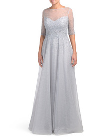 TERI JON Beaded Sparkle And Illusion Tulle Gown