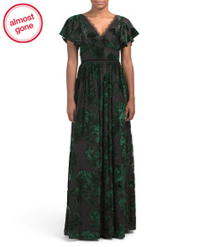 MARCHESA NOTTE V-neck Velvet Burnout Gown