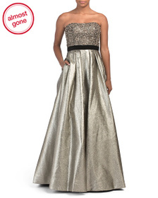 MIKAEL AGHAL Beaded Metallic Gown
