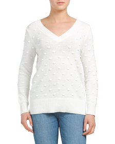 CABLE & GAUGE Long Sleeve Pom Pom Stitch Pullover