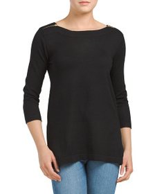 CABLE & GAUGE Boat Neck Tunic Top With Zipper Deta