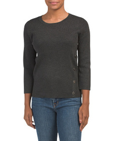 CABLE & GAUGE Pullover Sweater With Front Asymmetr