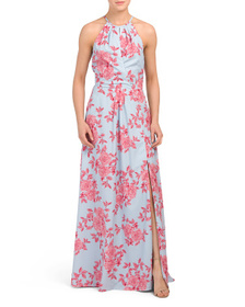 LAYERED WITH LOVE Juniors Floral Halter Maxi Dress