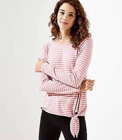 Striped Side Tie Tunic Top