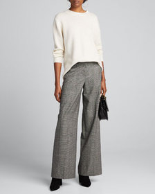 Theory Plaid Wide-Leg Trousers