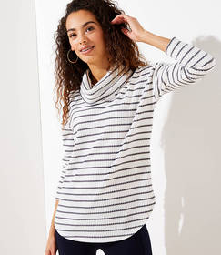 Striped Waffle Cowl Neck Top