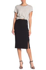 Elodie Side Button Ribbed Midi Skirt