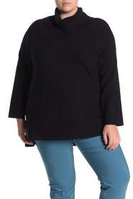 GRACE ELEMENTS Ribbed Cowl Neck Sweater (Plus Size