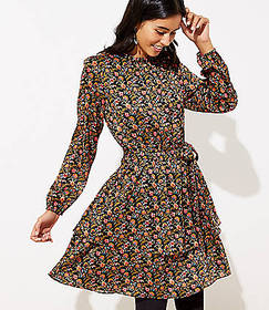 Shimmer Floral Ruffle Flare Dress