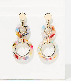 Pave Linked Resin Drop Earrings