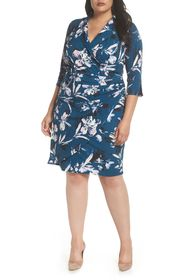 Eliza J Faux Wrap Floral Shirt Dress (Plus Size)