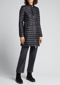 Moncler Agatelon Zip-Front Quilted Puffer Coat