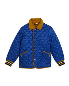 Burberry Boy's Cluford Quilted Jacket w/ Corduroy