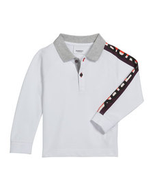 Burberry Boy's Duncan Polo Shirt w/ Logo Down Slee