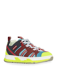 Burberry Icon Stripe Mixed-Media Chunky Sneakers,