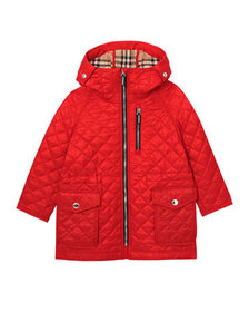 Burberry Boy's Trey Long Quilted Hooded Coat, Size