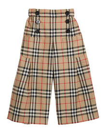 Burberry Girl's Taren Check Wide Legs Sailor Pants