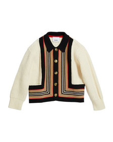 Burberry Girl's Oskar Icon Stripe Cardigan, Size 3