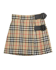 Burberry Girl's Luisa Buckle Check Skirt, Size 4-1