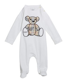 Burberry Boy's Check Bear Applique Footie Pajamas,