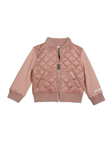 Burberry Girl's Mio Quilted Bomber Jacket w/ Fleec