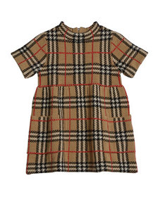 Burberry Girl's Mandy Wool Knit Check Dress, Size