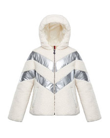 Moncler Cabourg Chevron-Striped Hooded Coat, Size