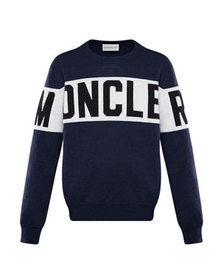Moncler Logo Pullover Sweater, Size 4-6
