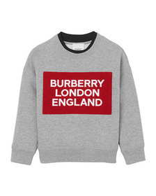 Burberry Boy's Logo Patch Sweatshirt, Size 3-14