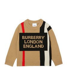 Burberry Boy's Rolfe Icon Stripe Logo Sweater, Siz