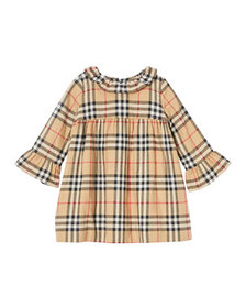 Burberry Girl's Ruffle Collar Check Dress, Size 12