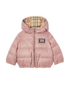 Burberry Girl's Check Reversible Puffer Coat, Size